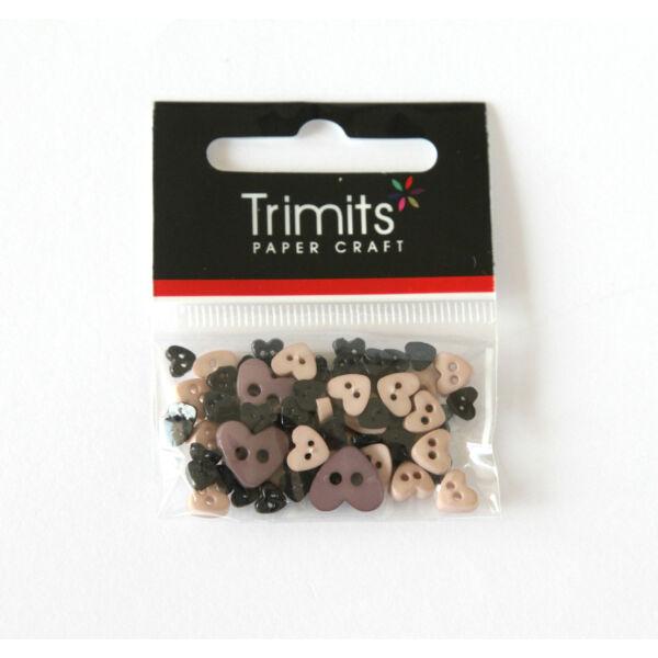 Szív formájú mini gombok - fekete
