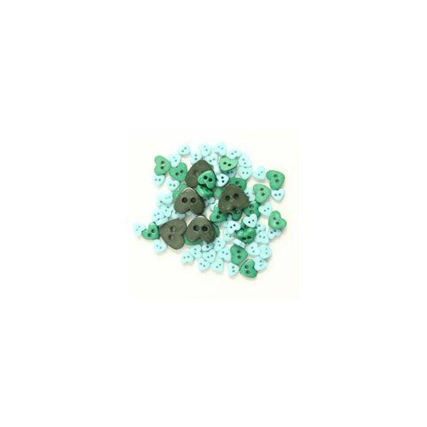 Szív formájú mini gombok - zöld