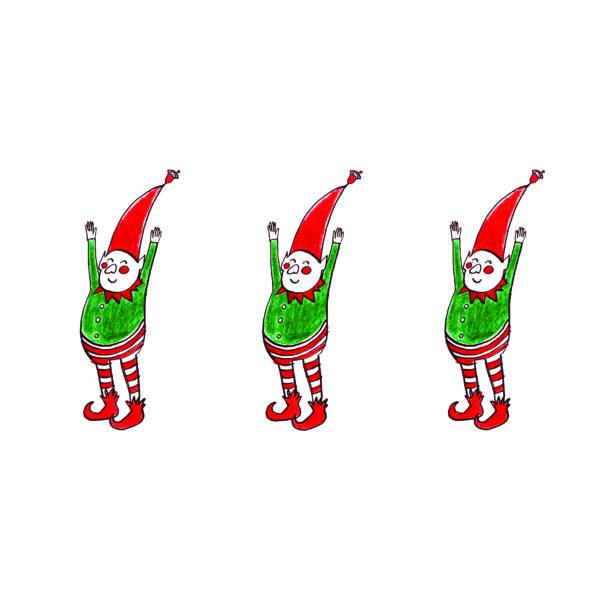 Karácsonyi mintás vászon panel - kis karácsonyi manók