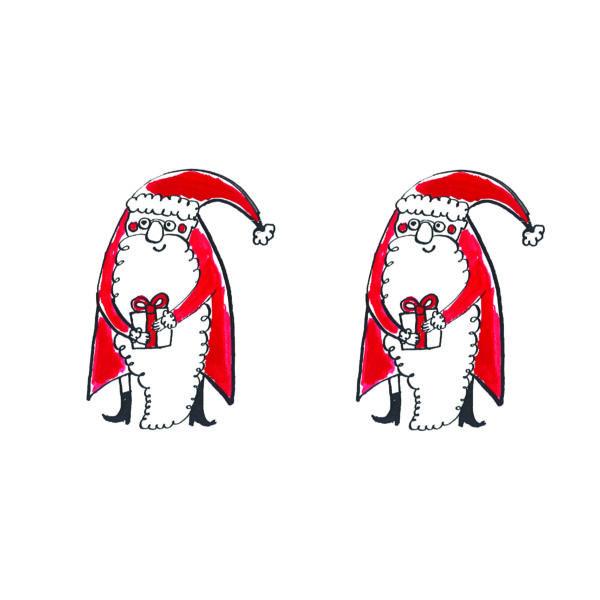 Karácsonyi mintás vászon panel - kis piros mikulások