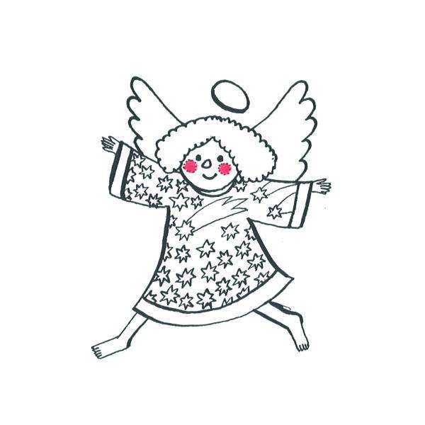 Karácsonyi mintás vászon panel - angyal