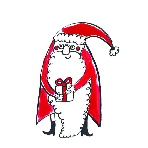 Karácsonyi mintás vászon panel - piros mikulás