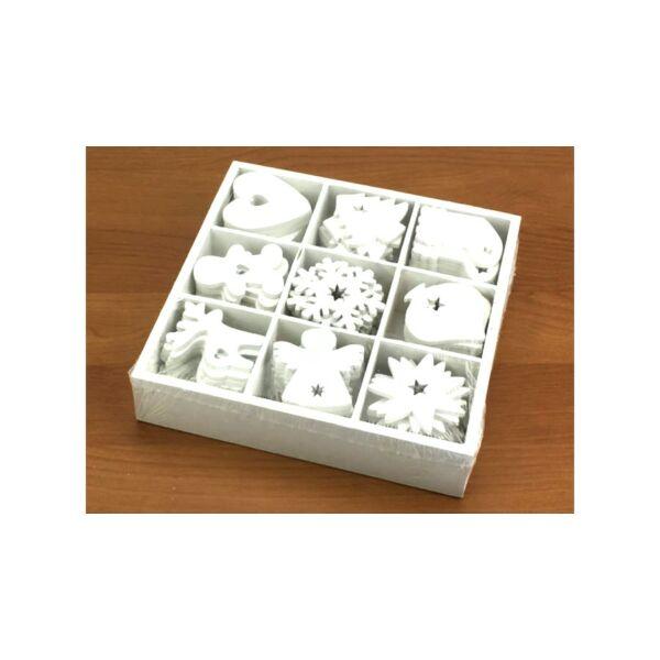Fehér fa vegyes dekorációs csomag - 9db