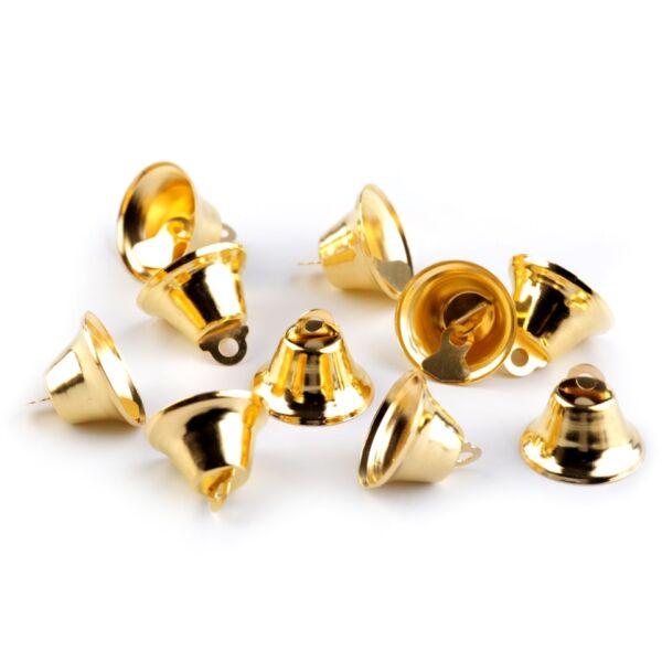 Arany színű fém csengő csomag - 1,5cm - 10db