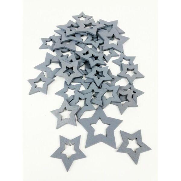 Szürke fa dekor - lyukas csillag - 10db