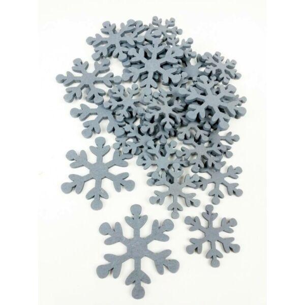 Szürke fa dekor - hópehely - 10db