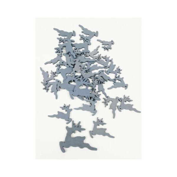 Szürke fa dekor - ugró szarvas - 10db