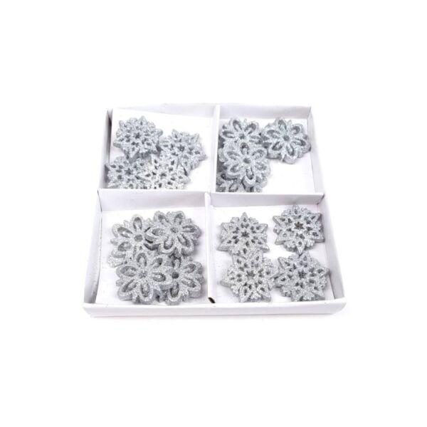 Öntapadós csillámos hópehely mix - 8db - ezüst