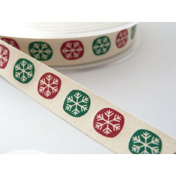 100% pamut szalag csomag - Snowflake Dots Red