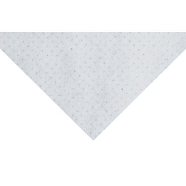 Csillámos barkácsfilc méteráru - fehér alapon pöttyös