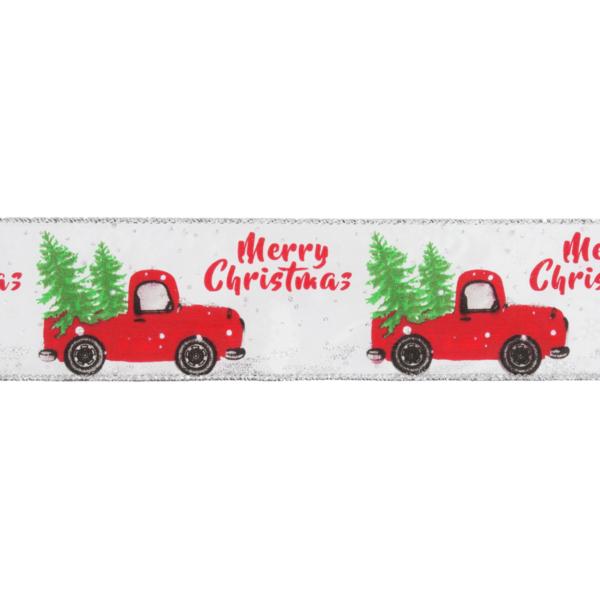 Karácsonyi piros autó mintás drótos szalag - 63mm