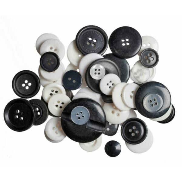 Trimits Bag of Craft Buttons - Black and White