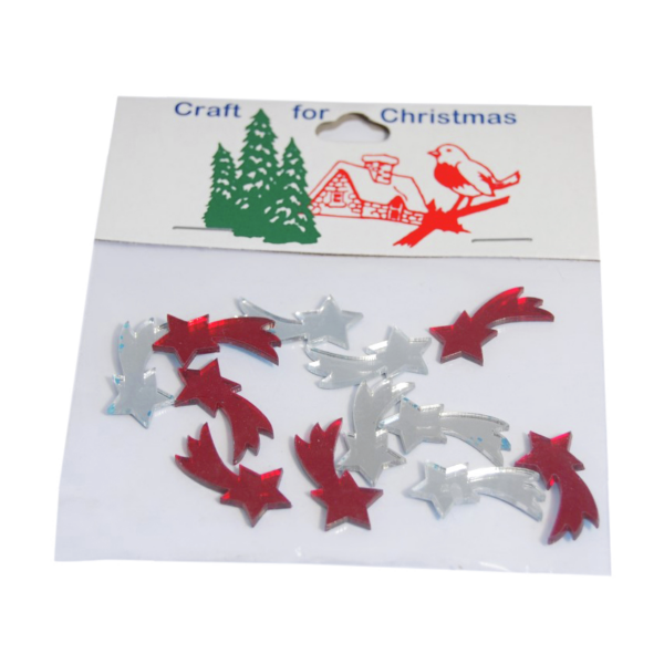Tükrös műanyag karácsonyi dekorációs csomag - hullócsillag