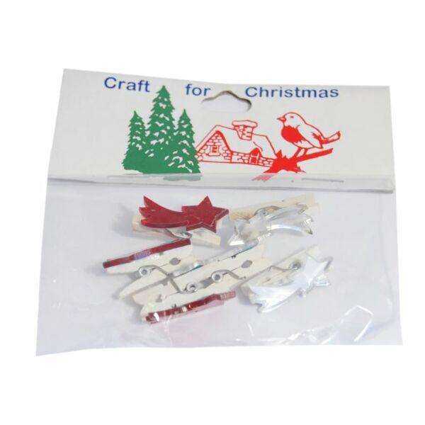 Tükrös műanyag karácsonyi dekorációs csomag - hullócsillag csipesszel