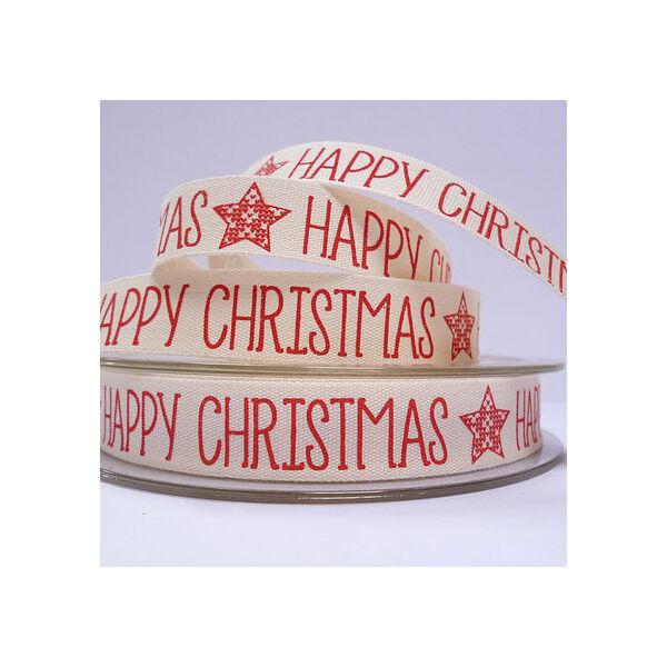 100% pamut szalag csomag - Fair isle Star Happy Christmas