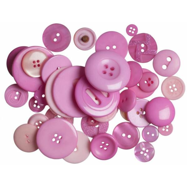 Trimits Bag of Craft Buttons - Dark Pink