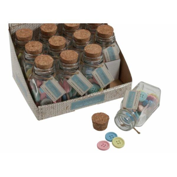 Színes fa gombok üveg tárolóban