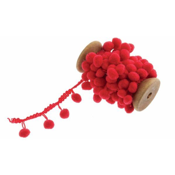 Piros színű pom-pom szalag fa orsón - 2m