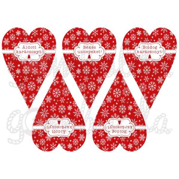 Mintás barkácsfilc - feliratos hópelyhes szívek - piros