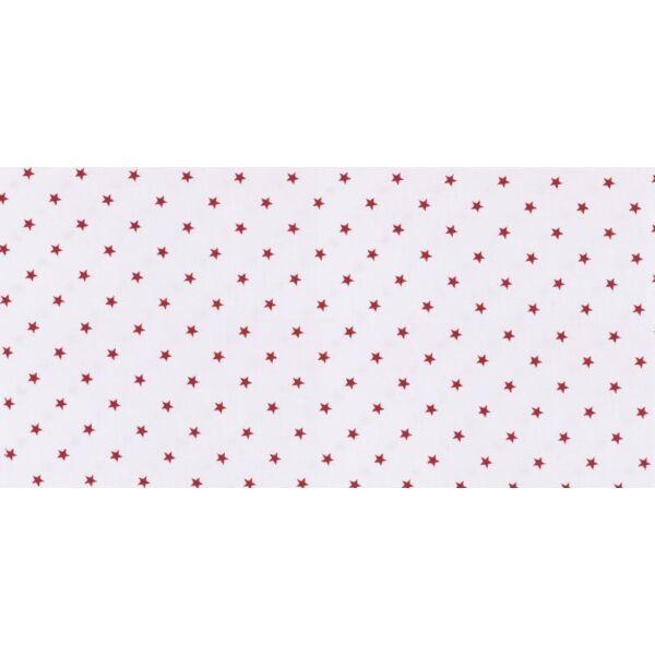 Fehér alapon piros csillag mintás pamutvászon
