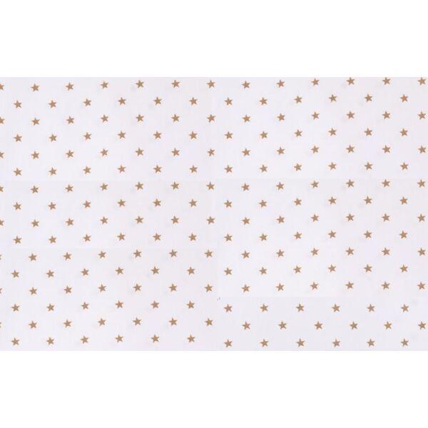 Fehér alapon drapp csillag mintás pamutvászon