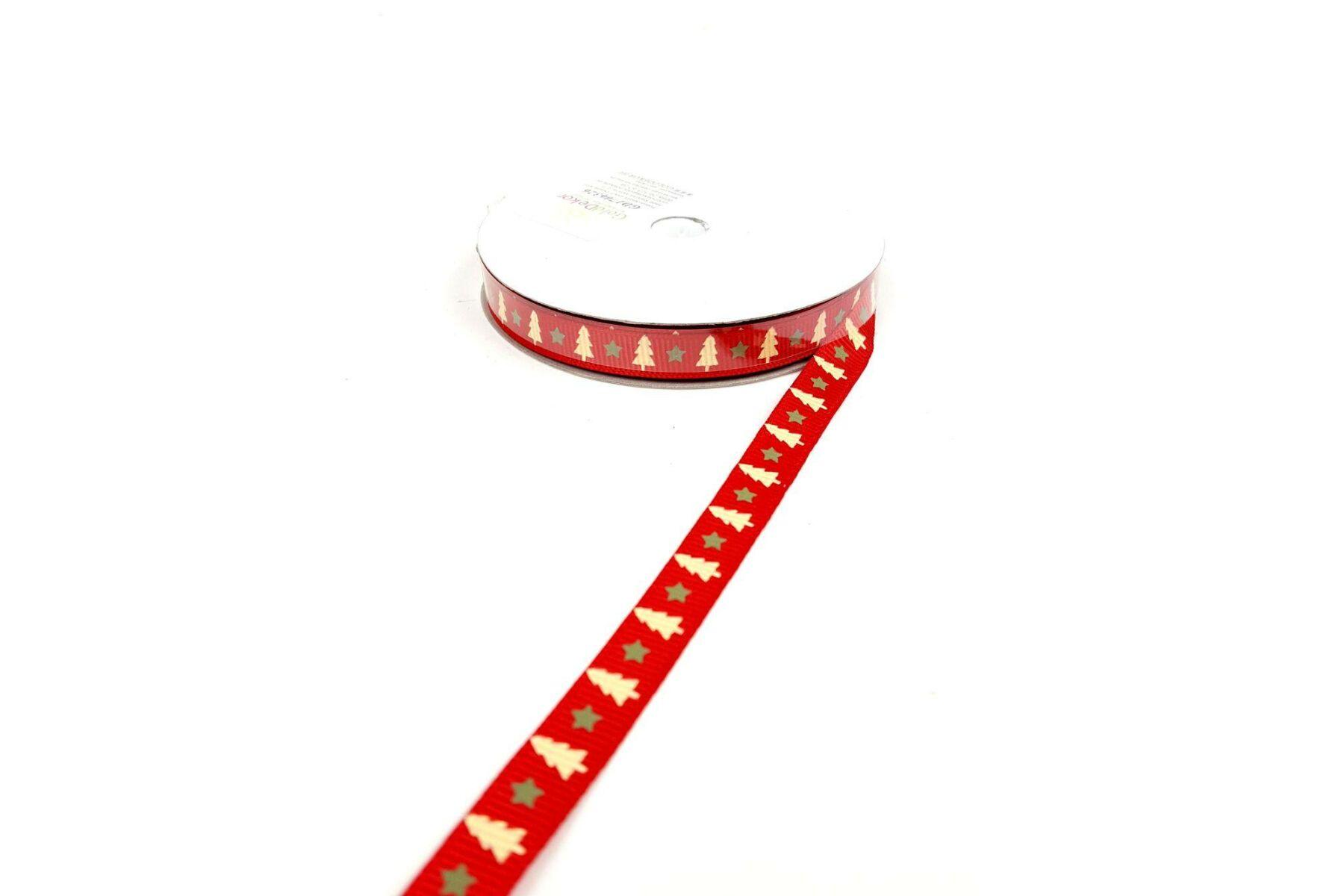 Karácsonyi ripsz grosgrain szalag - piros alapon fenyő mintás ... 9cbbd1e21d