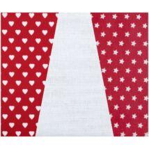 Mini pamutvászon csomag - piros alapon szívek csillagok