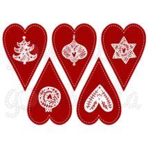 Mintás barkácsfilc - Scandi Christmas piros - szívek