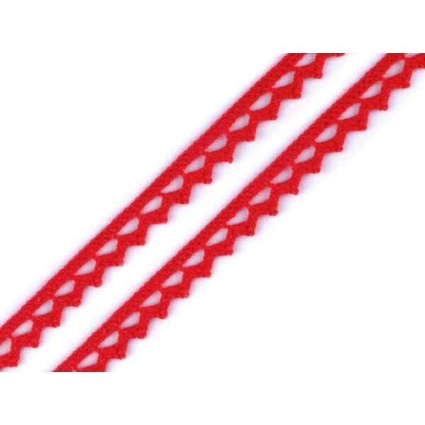 Piros pamut vertcsipke szalag - 8mm