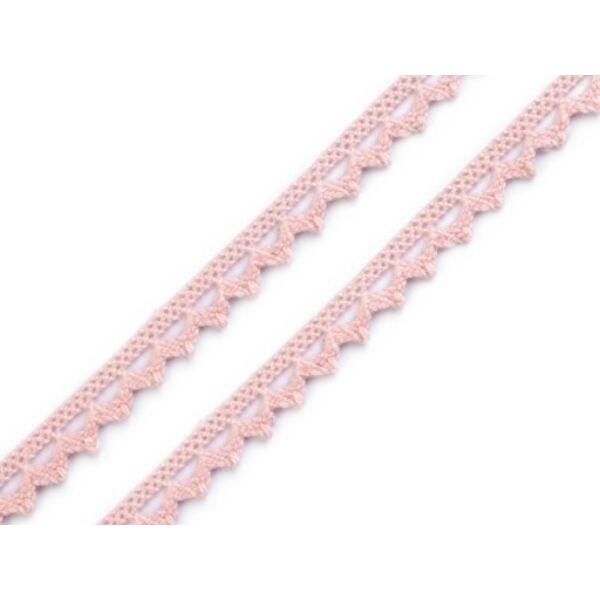 Rózsaszín pamut vertcsipke szalag - 8mm