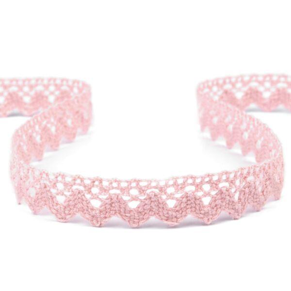 Rózsaszín pamut vertcsipke szalag