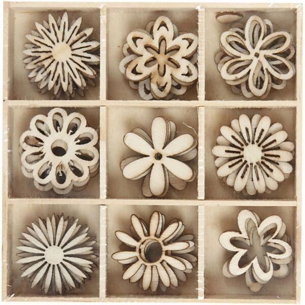 Égetett fa furnér dekorációs díszek - Flowers - 9db
