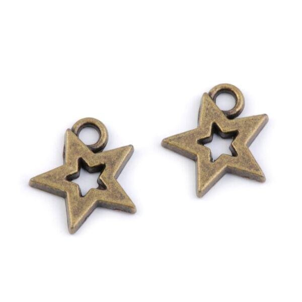 Csillag formájú fém fityegő csomag - réz