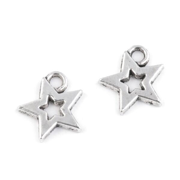 Csillag formájú fém fityegő csomag - platina