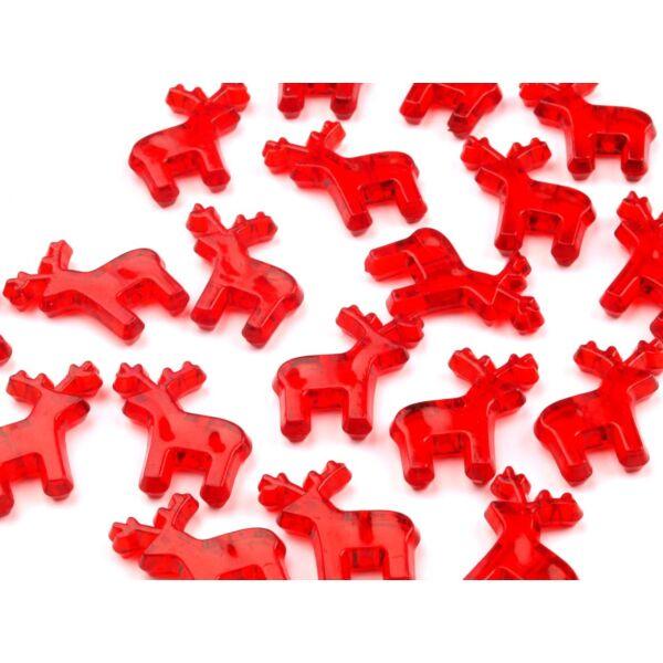 Rénszarvas formájú műanyag dekorációs csomag - piros