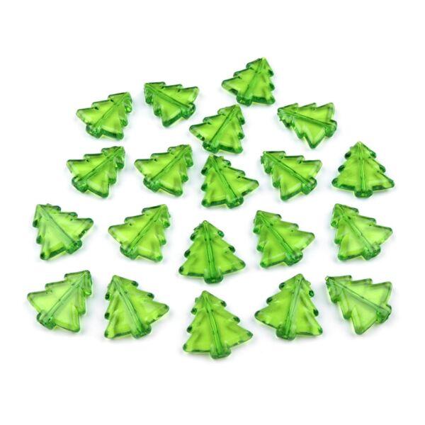 Fenyőfa formájú műanyag dekorációs csomag - zöld