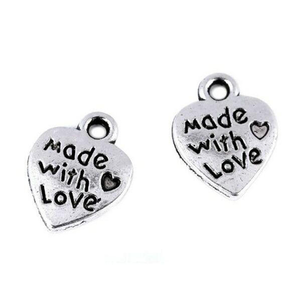 Fém fityegő csomag - szív - Made with Love - 10db