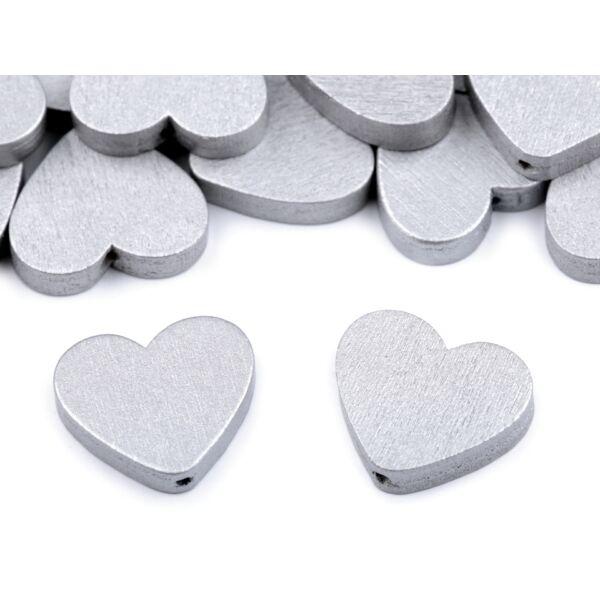 Fűzhető fa szívek - ezüst - 10db