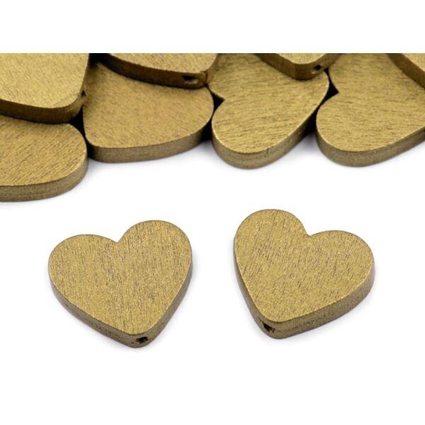 Fűzhető fa szívek - arany - 10db