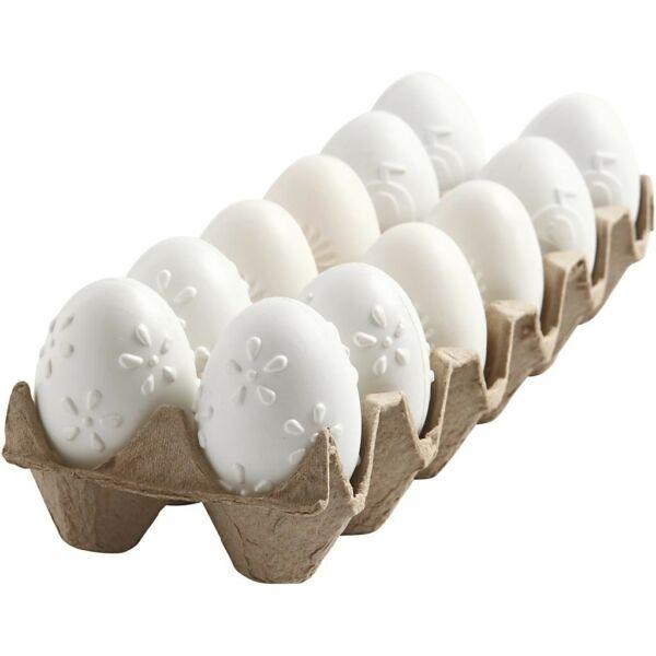 Mintás műanyag tojás szett - fehér