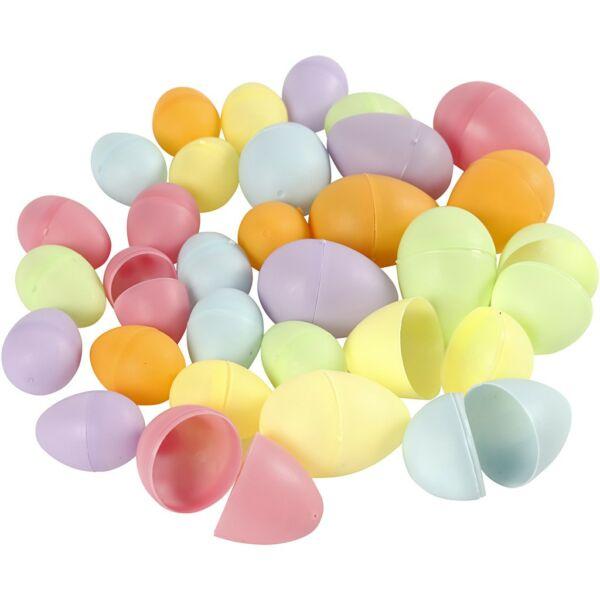 Kétrészes színes műanyag tojás csomag