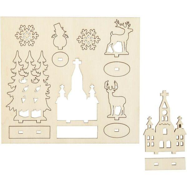 Csináld magad! fa furnér dekorációs készlet - templom, fenyők, rénszarvas