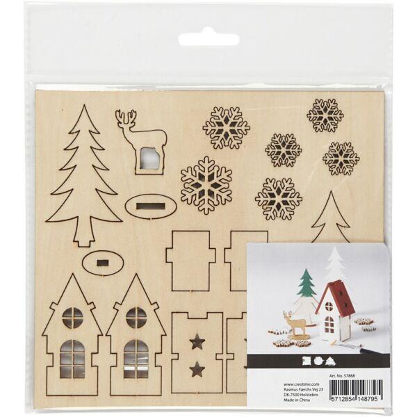 Csináld magad! fa furnér dekorációs készlet - házikó, rénszarvas, fenyők