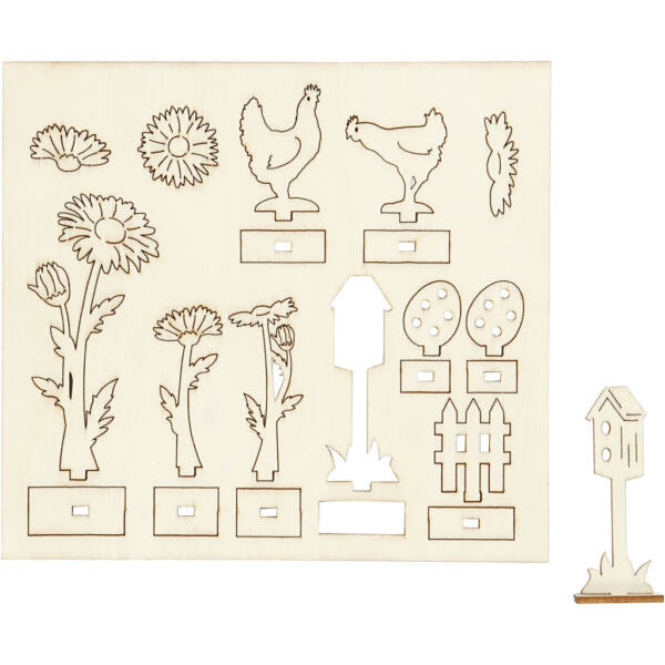 Csináld magad! fa furnér dekorációs készlet - tyúkocskák és virágok