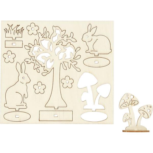 Csináld magad! fa furnér dekorációs készlet - nyuszik és fák