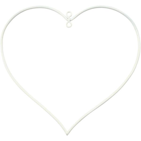 Fehér fém szív akasztóval