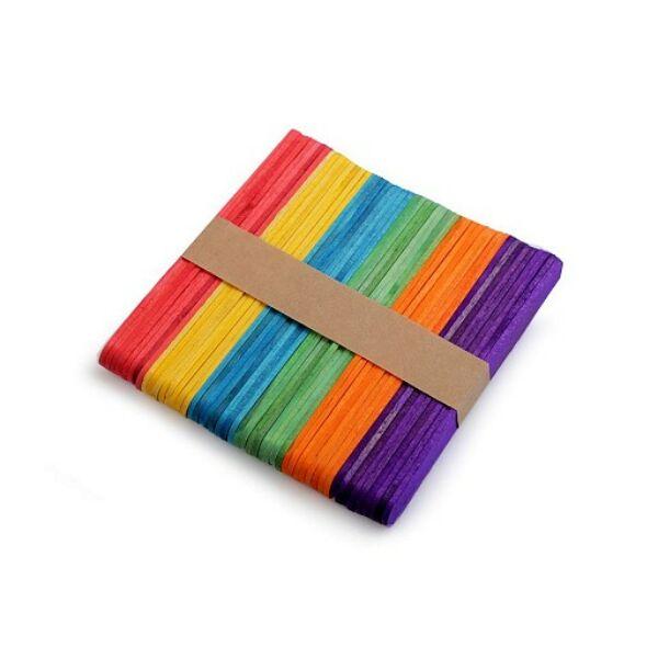 Színes dekorációs spatula fa pálcika csomag - 50db