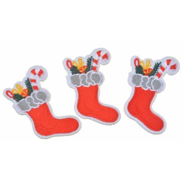 Vasalható varrható rátét applikáció - karácsonyi csizma