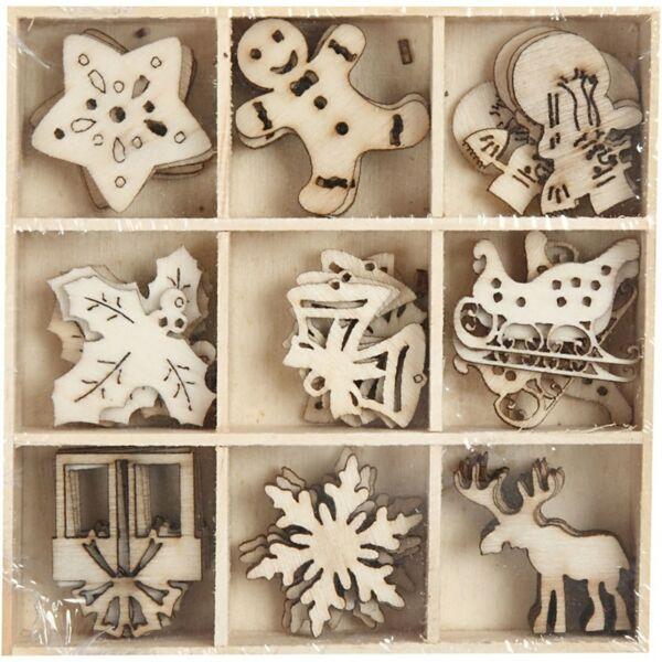 Égetett fa furnér dekorációs díszek - Christmas - 9db