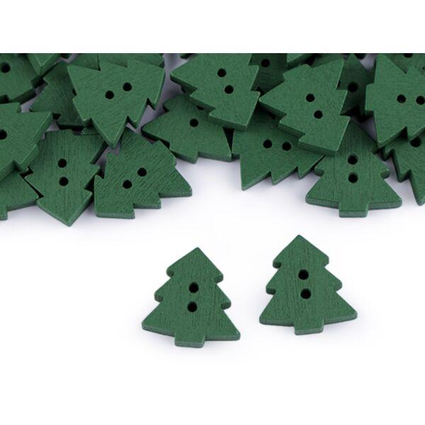 Fenyőfa alakú fa gombcsomag - 18mm - zöld